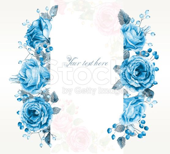 Frame of watercolor blue roses and berries. royalty-free stock illustration