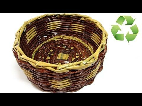 Como hacer cestas con periódico. Newspaper basket. - YouTube