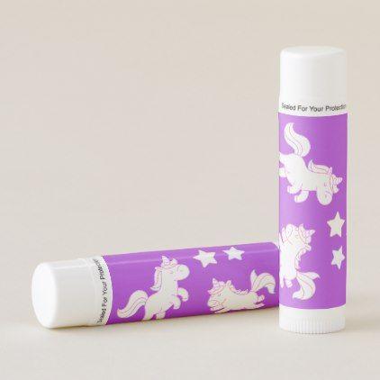 Unicorns on Purple Lip Balm - lip gifts unique lips style cyo personalize