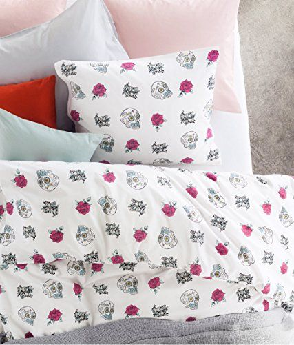 toddler bedding sugar skulls print duvet cover and pillowcase 2pc set twin single size 100