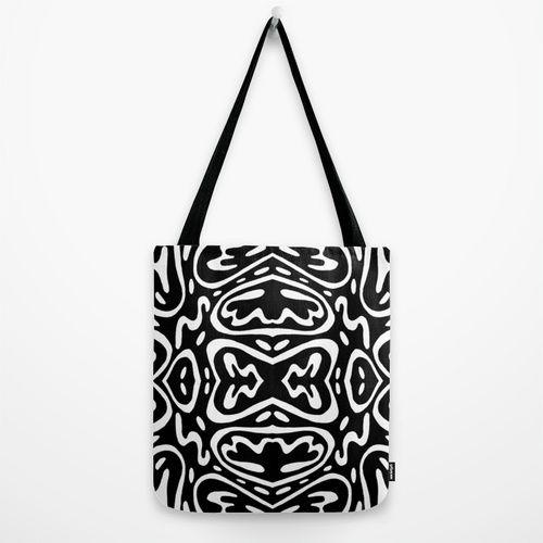 black + white Tote Bag