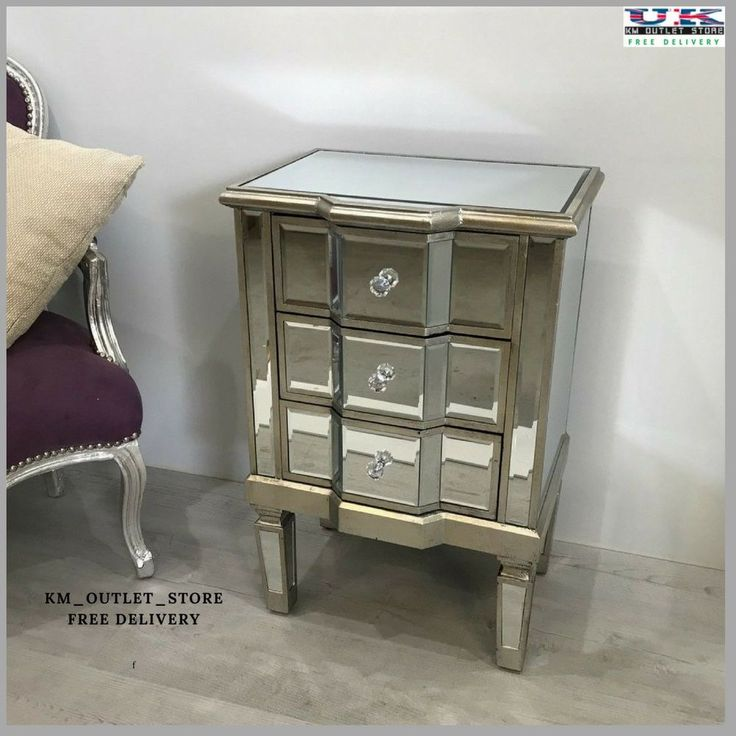 Mirrored Bedside Cabinet Glass Lamp Table Sideboard Unit Stand Home Furniture #MirroredBedsideCabinetGlass #ArtDecoStyle