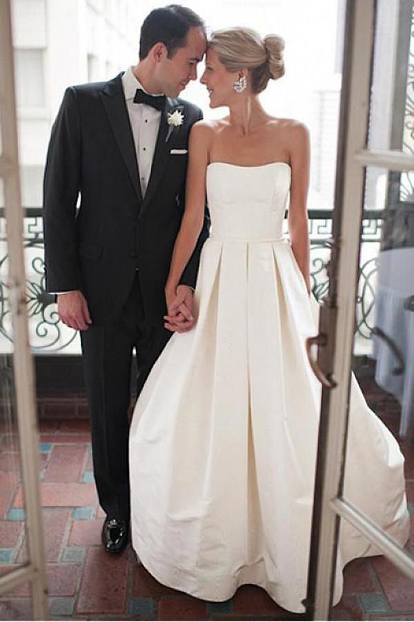 7b66c9d51b4b Simple Sweetheart Strapless Court Train Ivory Satin Wedding Dress with  Ruched OK565