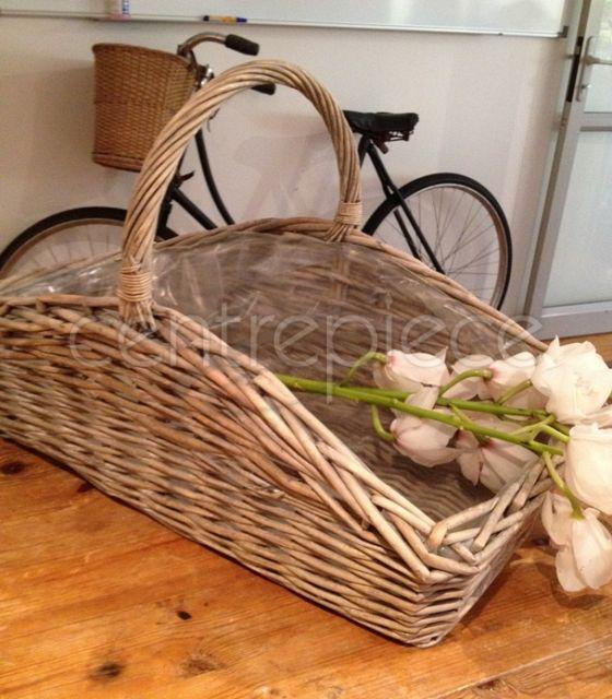 Basket Rectangle Whitewash Large