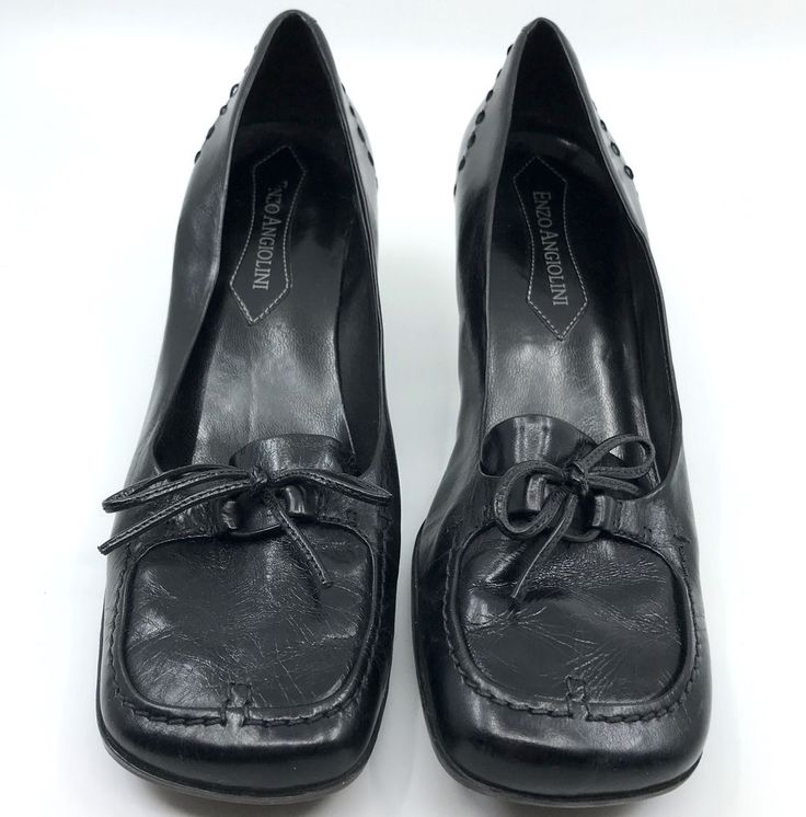 Enzo Angiolini Ladies Black #Leather Heeled Loafers #Shoes size 6.5 Gently preown #EnzoAngiolini #KittenHeels #WeartoWork