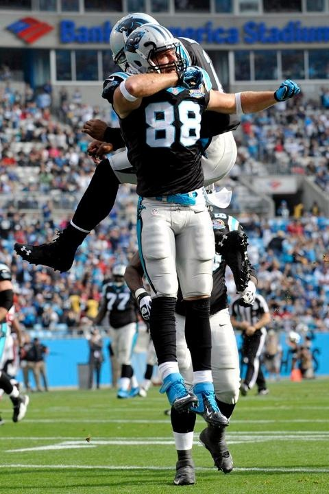 Greg Olsen celebrates with Cam - 12/9/12, Panthers vs. Falcons