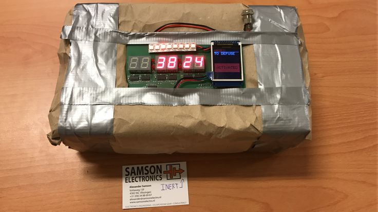 IED bomb prop with GM7 Time bomb game. Samson Electronics Service