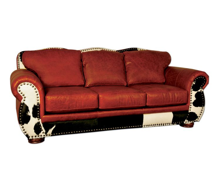 The Legend Sofa Auburn Offers The Unique Look Of A Scalloped Back With  Comfortable Oversized Arms. Made From A Top Grain Leather With A Black And  White Hair ...