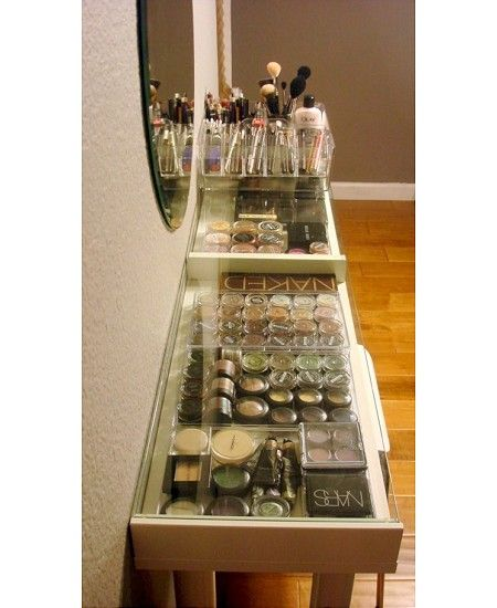 Cleartop Table Take your beauty obsession to the next level with a glass table top that allows you to see everything and also offers easy access to your beauty vanity.