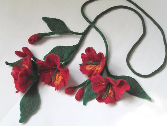 Felt Lariat  Flower Necklace Felted Flower Scarf  Flower