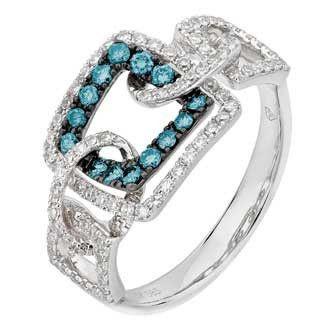 0.53 Carat Blue Diamond 14K White Gold Women Rings 3.27g: Ring Size: 7 (Sizable)