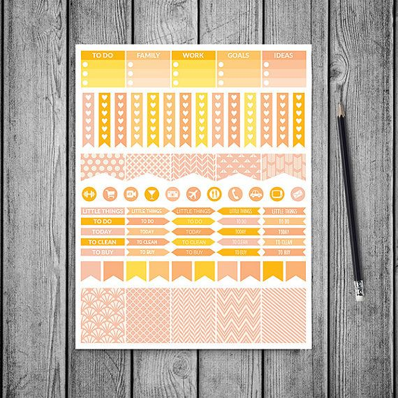 Peach Planner Stickers -    http://etsy.me/2bh6ABb Mambi peach planner stickers pack is perfect for create handmade planners, stationery, greeting cards, craft items and much more. Fits perfectly for your erin condren vertical life planner and other types of planners like: kikki k, mambi planner, plum planner etc. You may print as many sheets as you would like.