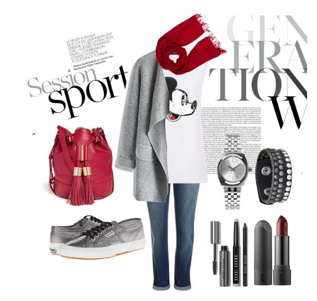 """""""#mydailyfashion#gray#red#sultankurtay"""" by sultankurtay on Polyvore featuring Markus Lupfer, Chicwish, Loro Piana, Superga, See by Chloé, Nixon, COWBOYSBELT and Bobbi Brown Cosmetics"""