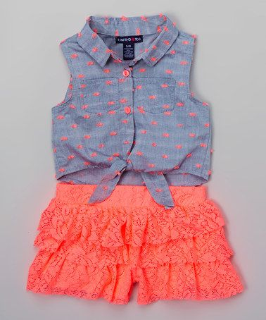 Love this Neon Coral Ruffle Romper - Toddler & Girls on #zulily! #zulilyfinds