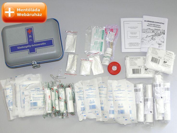Szépen ki vannak terítve a II. számú elsősegély doboz tartalma: http://www.mentolada-webaruhaz.hu/product_info.php/products_id/5