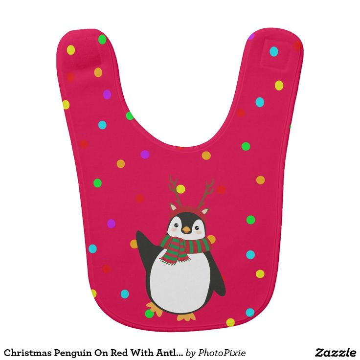 Christmas Penguin On Red With Antlers Baby's Bib