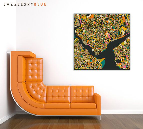 ISTANBUL MAP Modern Wall Art for the Home Decor by JazzberryBlue