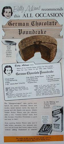 German chocolate pound cake recipes