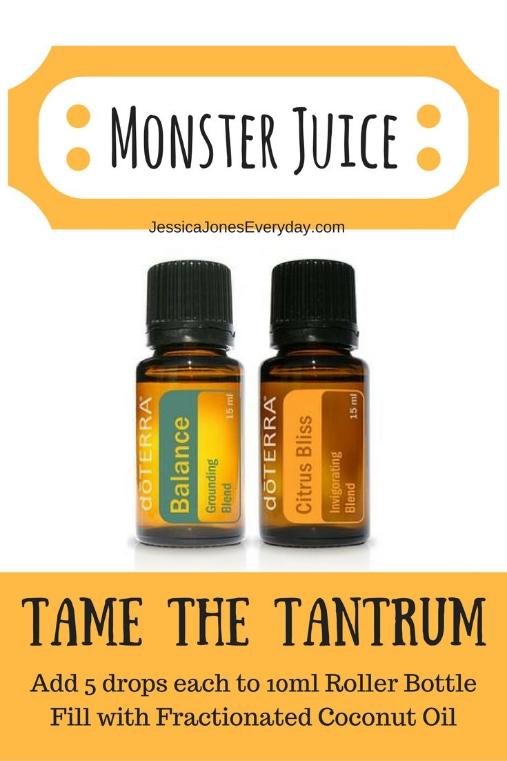 Monster juice with doterra essential oils! Balance + Citrus Bliss = calm toddler #winning