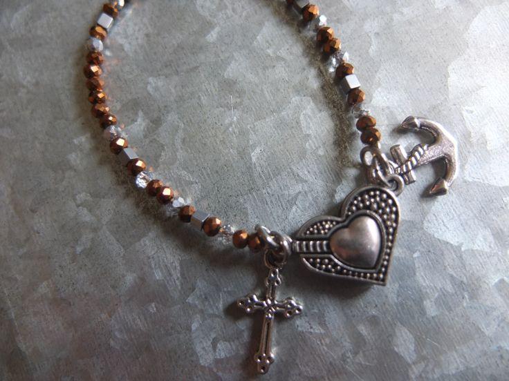 """Armband """"Glaube, Liebe, Hoffnung"""" Das Herz ist ein Magnetverschluss"""