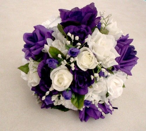 Purple wedding bouquet silk rose bouquet white roses for A lot of different flowers make a bouquet