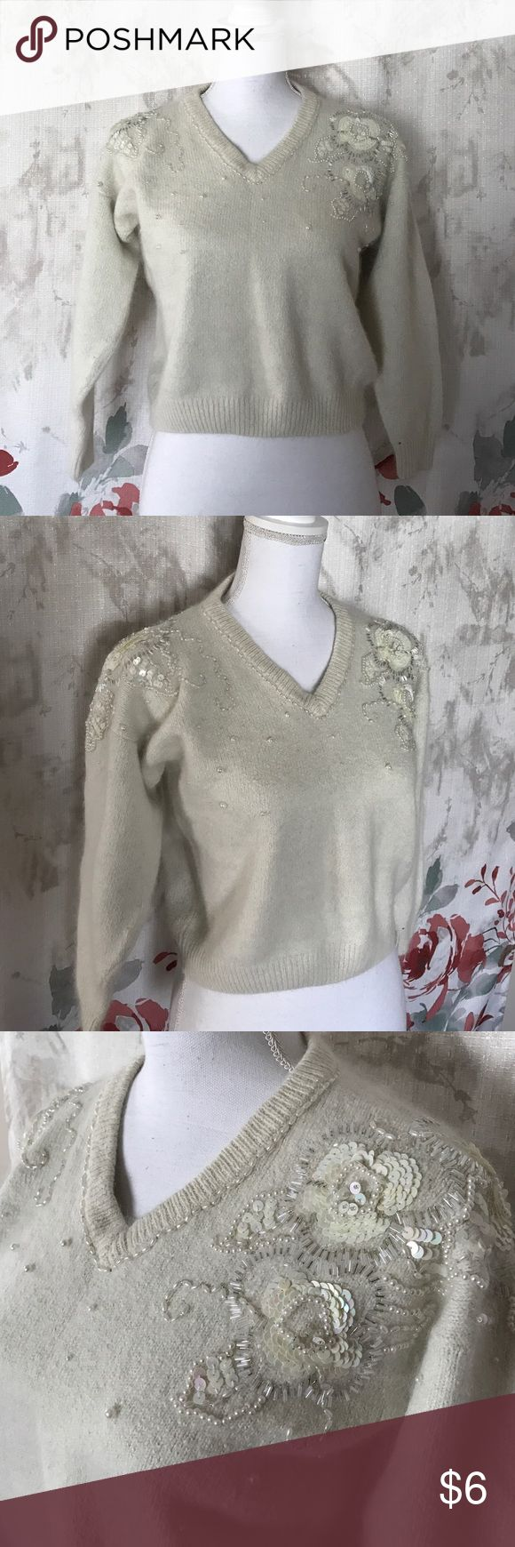 Sweater • Off white Cute sweater pretty detail shoulder and front show in the pictures. Color off white . Sz small petite Sweaters V-Necks