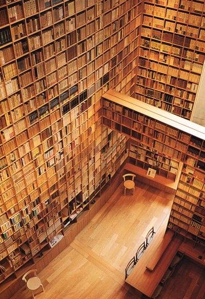 """Library of Babel"", in the Shiba Ryotaro Memorial Foundation museum, Osaka, Japan, designed by Tadao Ando"