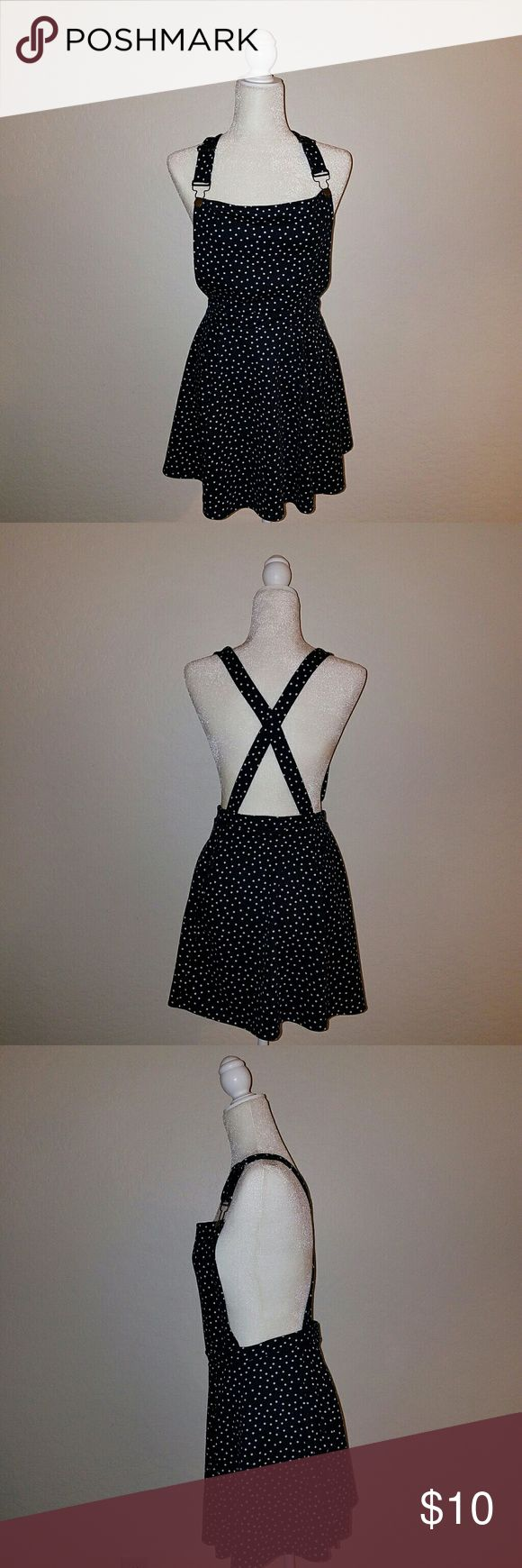 Cotton On Polka dot overall dress Black with white polka dots Overalls Criss cross back Cotton On Dresses
