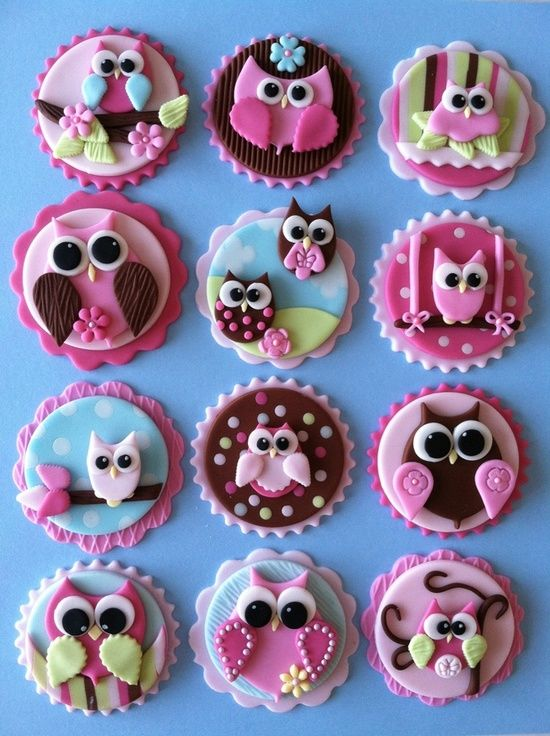 Owl cupcake toppers. these would be cute made bigger out of felt