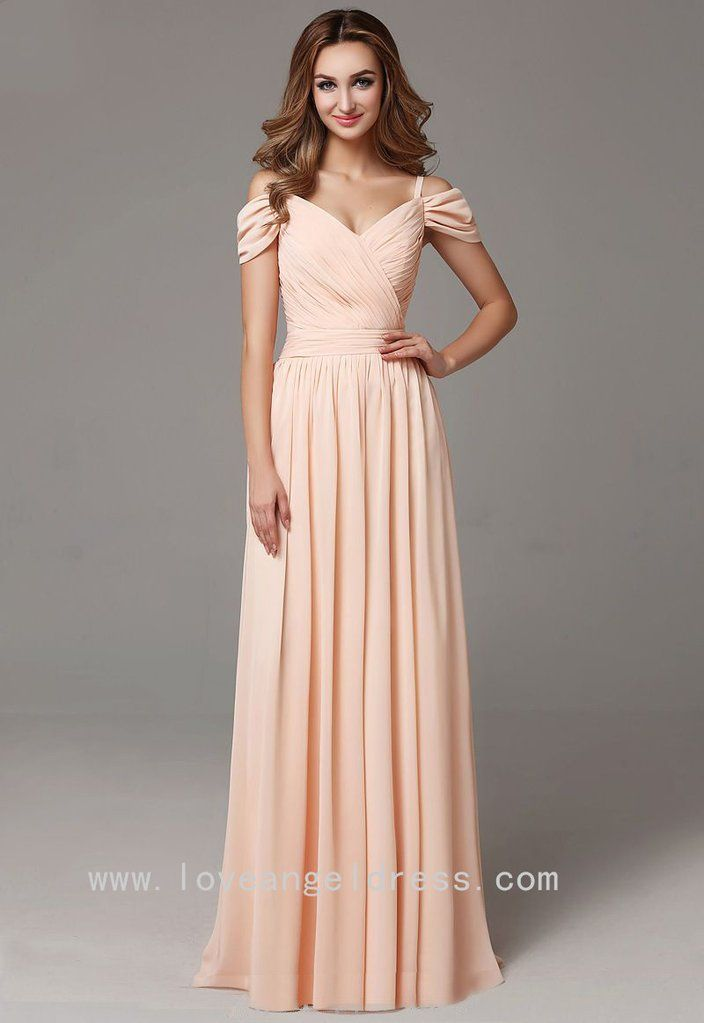 da85dbaaea Off-the-shoulder Chiffon Long Wedding Guests Dress
