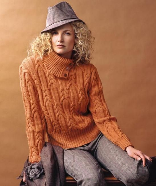 Ladies' Sweater with Cables, S5969 - Free Pattern