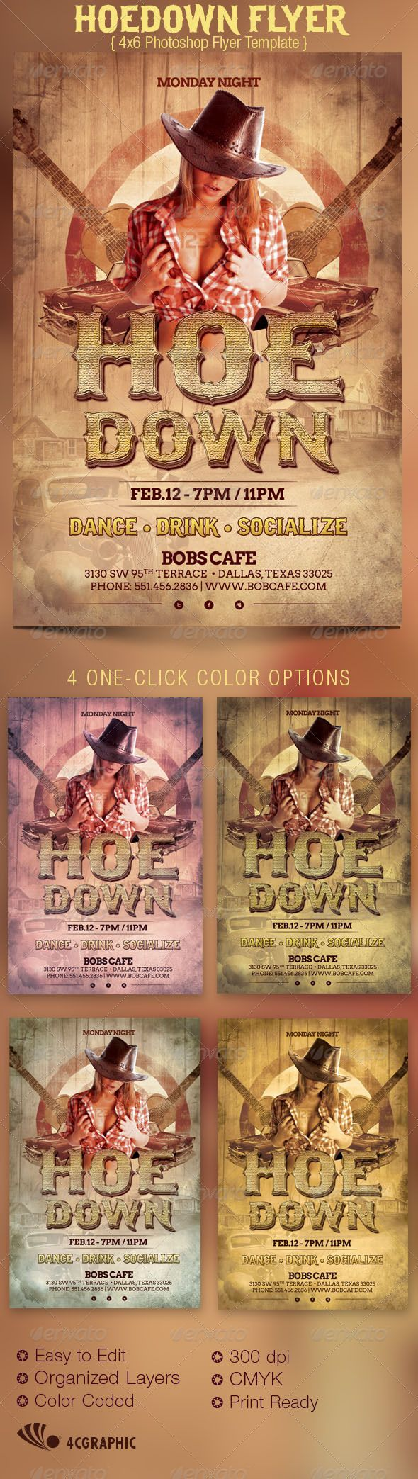 Hoedown Country Flyer Template | Flyer template and Print ...
