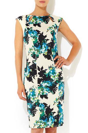 Floral Print Scuba Dress - Clothing