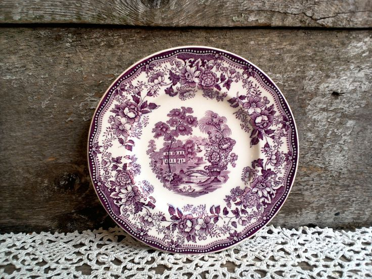 """Purple Side Plate, CLARICE CLIFF Tonquin Side Plate 6 1/2"""", Royal Staffordshire, Purple Transferware, English Transferware, Serving, Decor by CottonCreekCottage on Etsy"""