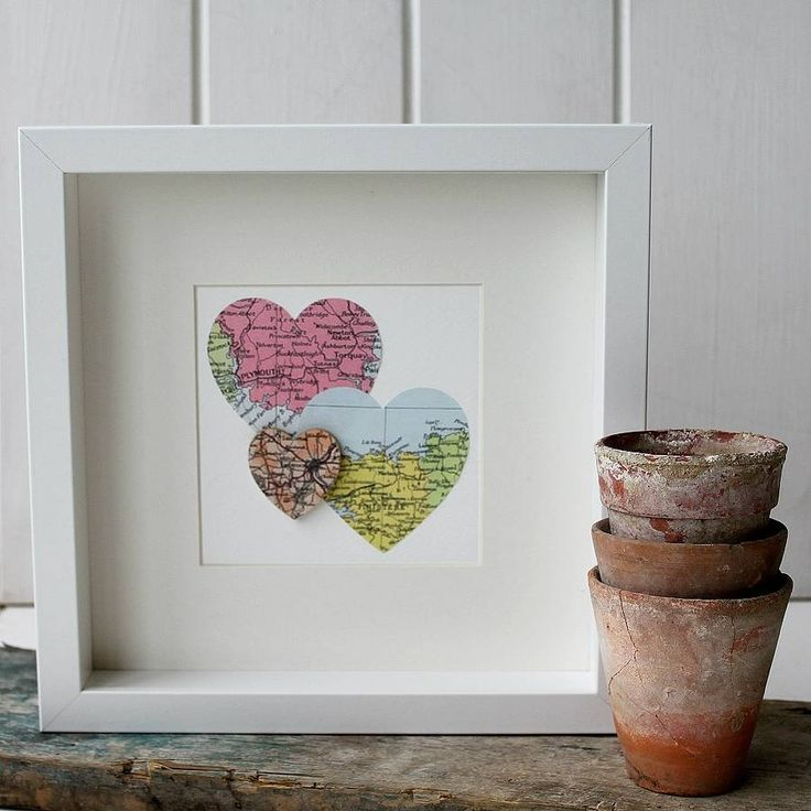 personalised multi heart map picture by posh totty designs interiors | notonthehighstreet.com
