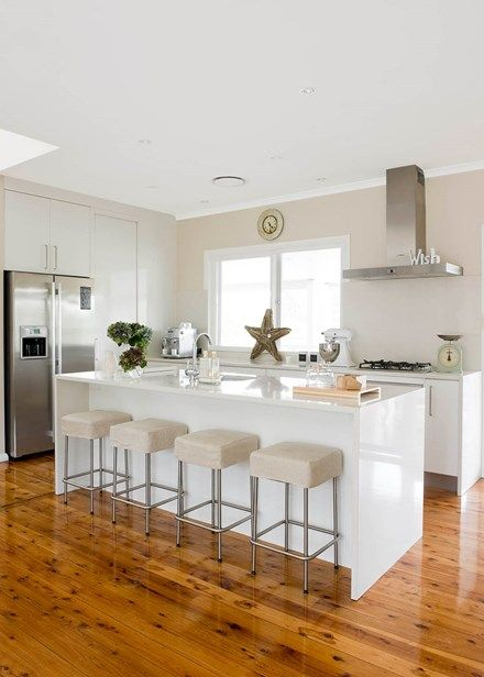 Relaxed all-white space with a superb island - Home Beautiful