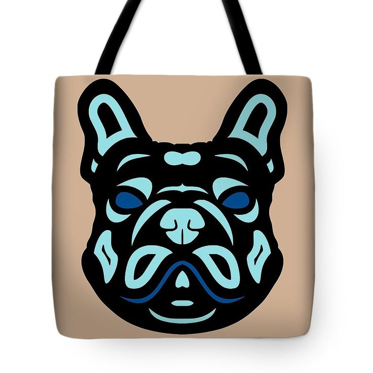 Tote Bag French Bulldog Francis - Dog Design - Hazelnut, Island Paradise, Lapis Blue by Manuel Süess | Order at http://artprintsofmanuel.com/products/french-bulldog-francis-dog-design-hazelnut-island-paradise-lapis-blue-manuel-sueess-tote-bag.html