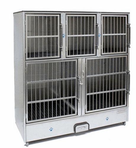 Cage vétérinaire pour chats / 5 compartiments / en acier inoxydable Groomer's Best