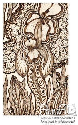 Pirografia su legno / Anna Bernasconi Art / FANTASIA FLOREALE CON DEDICA / ispirazione floreale