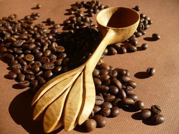 Coffee measuring scoop  wild cherry scoop wooden spoon
