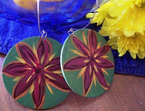 Flower Power Large Hand Painted Wooden Earrings  | 4DiasporaDesigns - Jewelry on ArtFire