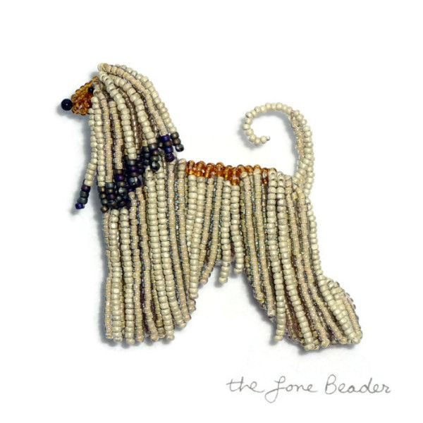 AFGHAN HOUND beaded dog art pin/ pendant Etsy bead embroidery AKC Boston artist Vanderpump dogs