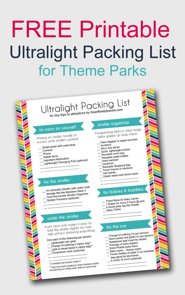 Ultralight Family Packing List For Theme Parks What