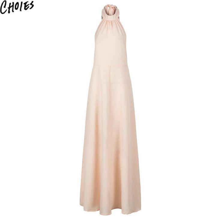 Women Pink Halter Tied Sexy Backless Elegant Slim Sleeveless Chiffon Maxi Dress New Zip Up Off Shoulder Plus Size Clothing