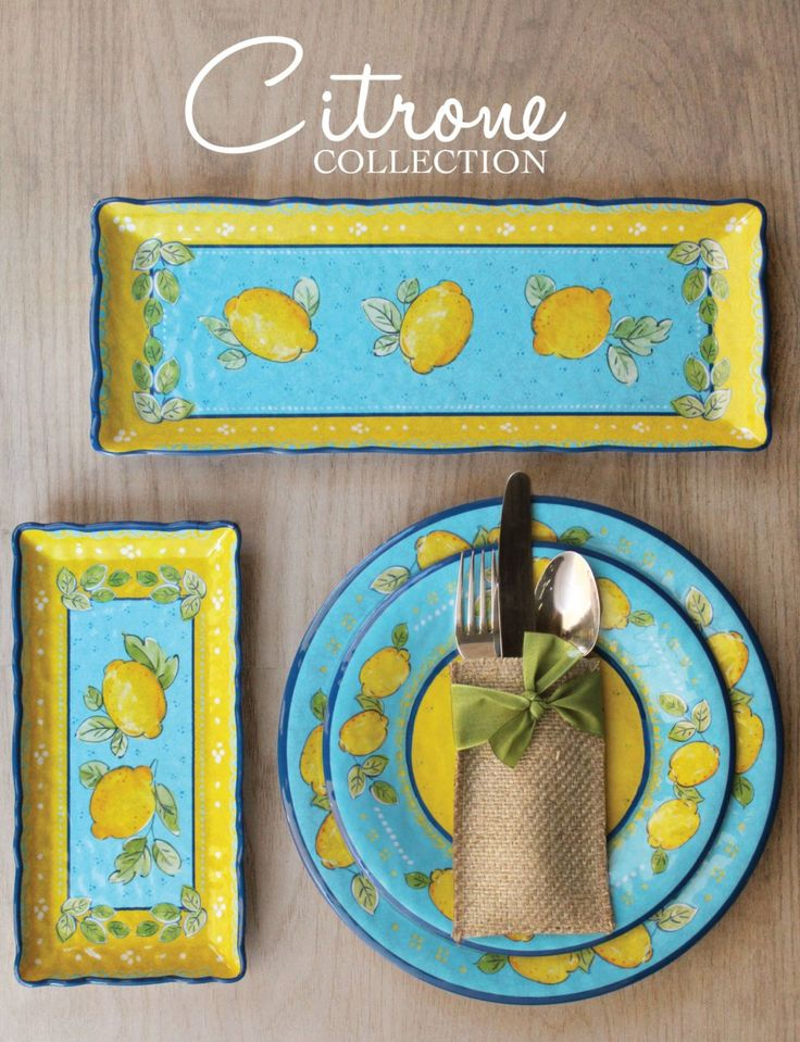 Charmant Le Cadeaux Melamine Collections #14: Citrone Yellow And Blue Melamine Collection From Le Cadeaux