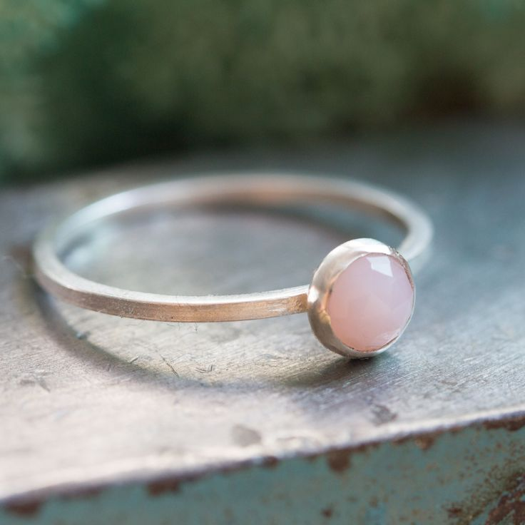Pink Opal - Simple silver solitaire ring with Natural pink opal faceted gemstone