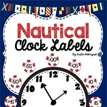 These  clock labels are perfect for your nautical classroom.  Place them around your classroom clock to help your students tell time to the nearest 5 minutes.