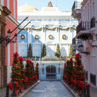 While every street of Old San Juan is bedecked for Puerto Rico's favorite holiday, the Governor's Mansion (La Fortaleza) may be the most splended address of all. Originally built as a fortress, this part of the city later became the governor's residence. Coastalliving.com