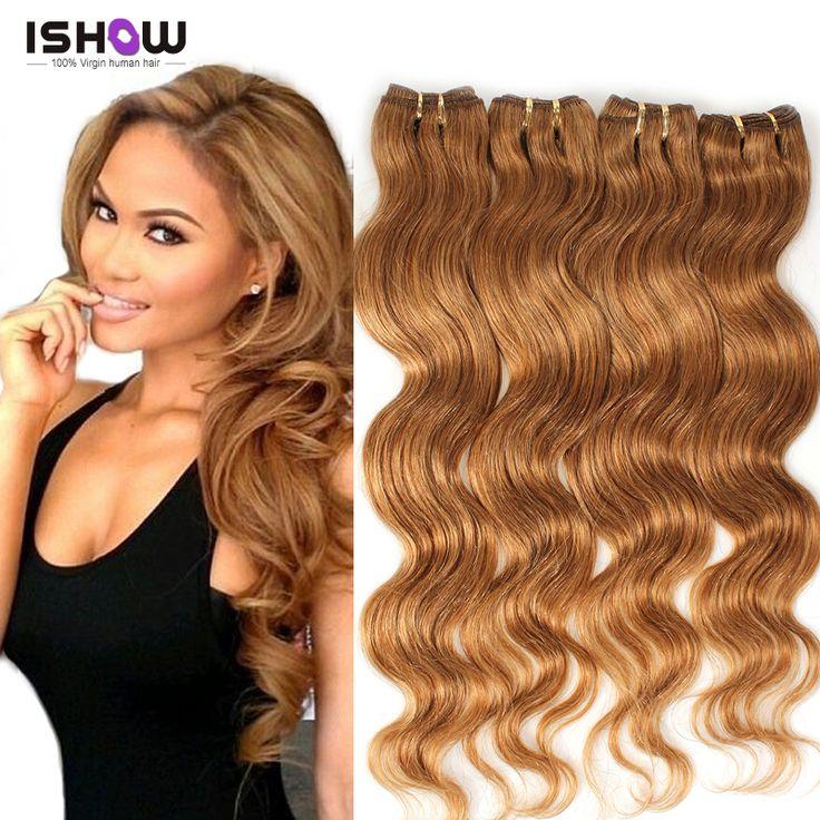 4 Bundles Light Brown Virgin Hair 5A Unprocessed Peruvian Virgin Hair Body Wave Honey Blonde Hair Extensions Ishow Virgin Hair
