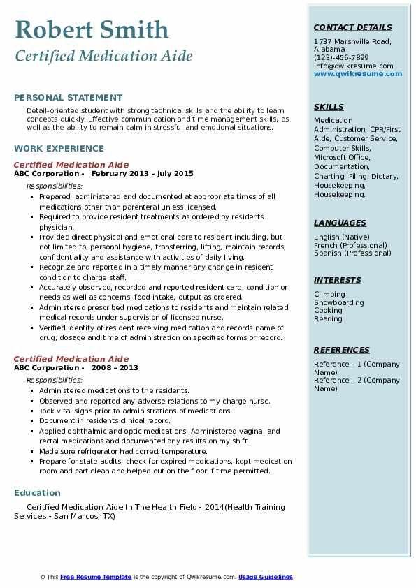 Certified Medication Aide Resume Samples Qwikresume Teacher Resume Teacher Resume Examples Medical Coder Resume